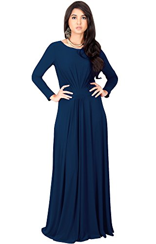 KOH KOH Plus Size Women Long Full Sleeve Sleeves Flowy Empire Waist Fall Winter Modest Formal Floor Length Abaya Muslim Gown Gowns Maxi Dress Dresses, Navy Blue XL 14-16 ()