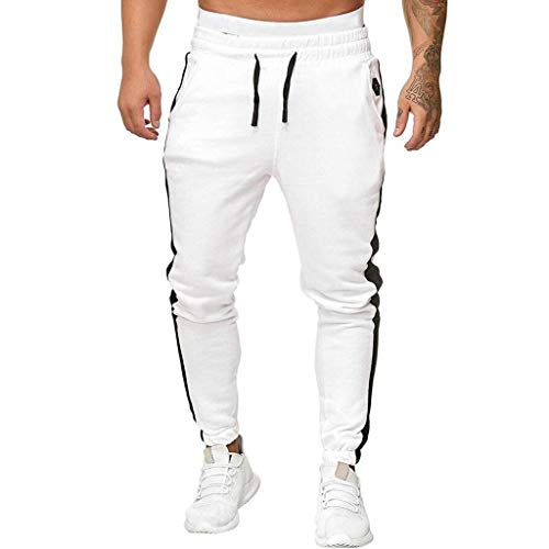 Homeparty Mens Pants New Sport Sweatpants Long Trousers Tracksuit Fitness Workout Joggers White