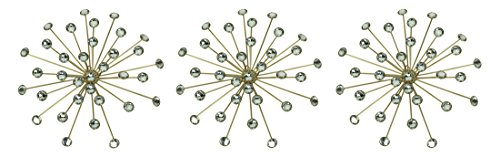 (Elico Ltd. Jeweled Bursting Star Wall Sculpture Set Of 3 Metal Wall Sculptures Gold)