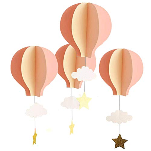 8 Pcs Large Size Hot Air Balloon 3D Paper Garland Hanging Decorations for Wedding Baby Shower Valentine's Day Christmas Décor Birthday Party Supplies by AZOWA(Pink, 8 Pcs) ()