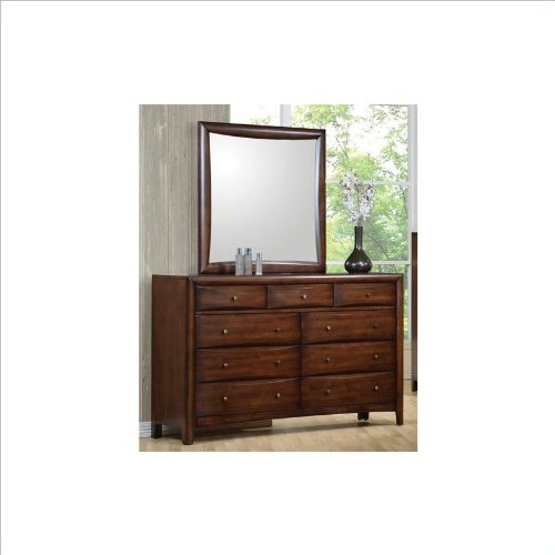 Coaster Hillary and Scottsdale Dresser and Mirror Set in Dark Walnut finish by Coaster Home Furnishings