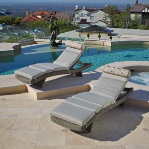 Portofino Signature Lounger 2-pack with Cushions Weathered Gray All-weather Woven Resin Wicker with Sunbrella Fabric