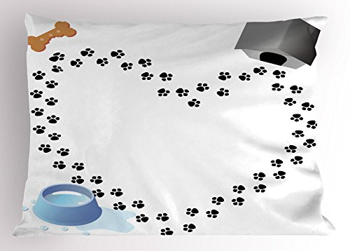Ambesonne Dog Lover Pillow Sham, Puppy Love Heart Shaped Trail of Paw Prints Bone Kennel Water Drops, Decorative Standard Size Printed Pillowcase, 26 X 20 inches, Grey Black White Blue (Puppy Pillow Shaped)