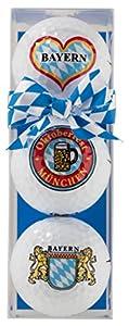 Golfball-Set: 3 Golfbälle mit bayrischen Motiven - Golfball-Set BAYERN /...