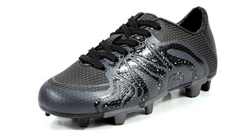 DREAM PAIRS Little Kid 160472-K Black Dk.Grey White Soccer Football Cleats Shoes - 2 M US Little Kid