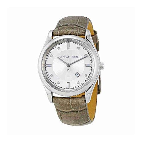Michael Kors Silver Dial Grey Leather Ladies Watch MK2548
