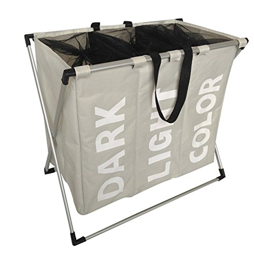 Party Bar. 3-Bag Laundry Sorter Cart, X-Aluminum Frame Oxford, Washable, Foldable Laundry baskets Sorter Bag For Heavy-Duty Use in Home, College, Apartment Laundry (Gray)