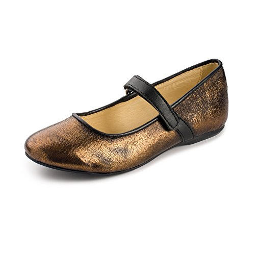 Primigi Shoes Girls Mary Jane Velcro Flat Shoe (31 M US, Black/Gold) by Primigi