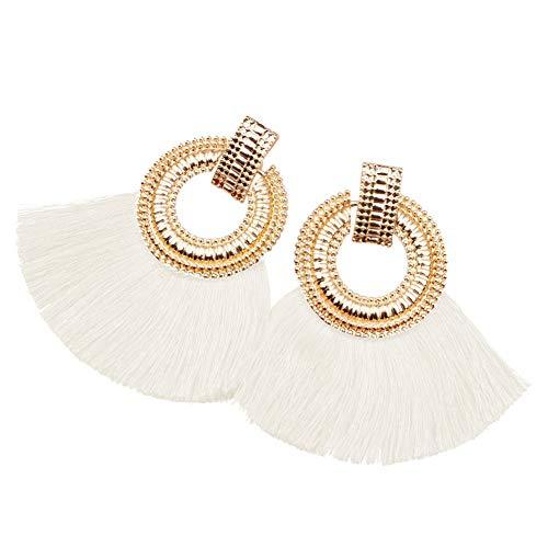 5mm Earrings Medium Hoop (didit_yi 1 Pair Gold White Women Girls Tassel Bohemia Stud Hoop Earrings Fringe Earings Dangle Jewelry)
