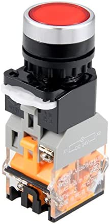 uxcell プッシュボタンスイッチ 穴直径22mm DPST 1 NO 1 NC レッド 緊急遮断ボタン 1個入り