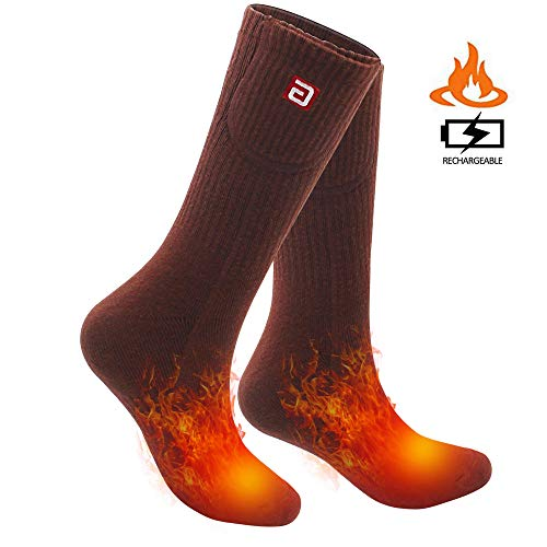 SVPRO Rechargeable Electric Heated Socks Battery Powered Comfortable Thermo-Socks,Cold Weather Thermal Socks Sport Outdoor Camping Hiking Warm Winter Socks for Men Women (Brown, L-T)