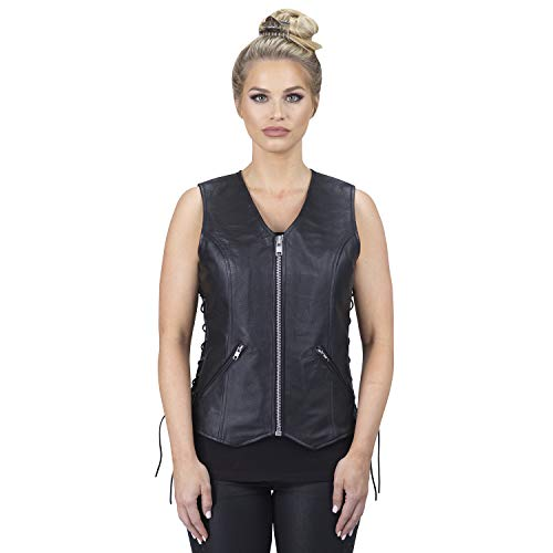 Viking Cycle Haughty Motorcycle Leather Vest For Women (Motorcycle Jacket Womens Lace)