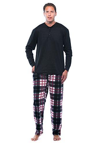 #FollowMe 44909-13-XXL Pajama Set For Men With Thermal Henley Top and Polar Fleece (Adult Fleece Pajamas)