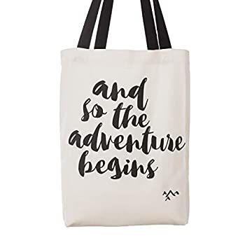 """Ling's moment """"And So the Adventure Begins"""" Message Wedding Party Canvas Cotton Tote Bags Bridal Shower Bachelorette Bridesmaid Friends Gifts"""