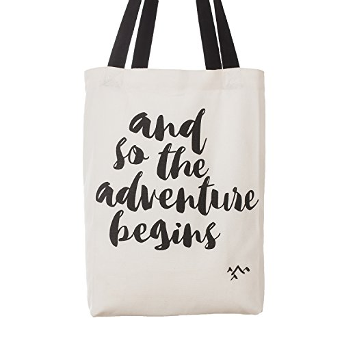 Ling's moment And So the Adventure Begins Wedding Canvas Cotton Tote Bags Adventure Wedding Favors Bride Tote Bag Bridesmaid Gifts (Tote Wedding)