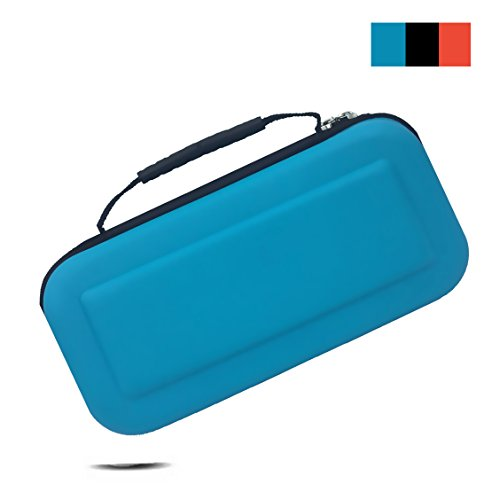 Emaks Switch Game Traveler Deluxe Travel Carry Case - for Nintendo Switch Console & Accessories - EVA Protective Waterproof Travel Carrying Portable Case Bag with with 10 Game Cartridge Holders (blue)