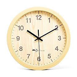JUSTUP Non-Ticking Table Clock,8 Inches Silent Movement Imitation Wood Wall Clocks with Battery Operated HD Glass,Decorative for Home Kitchen Living Room Bedroom Office (Yellow)