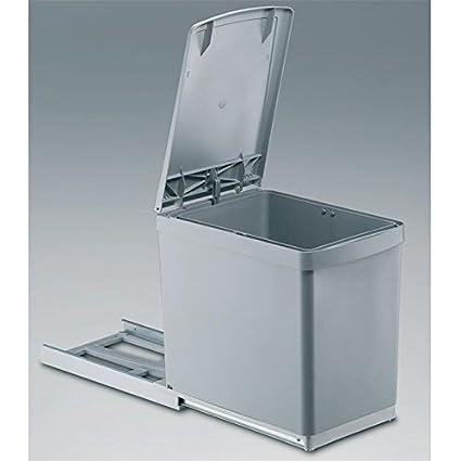 Quellmalz Cocina cubo de basura empotrable 1 x 16 L mano extraíble con automática de la