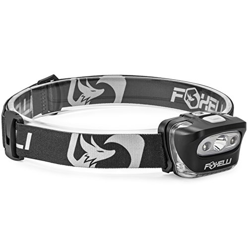 Foxelli-Headlamp-Flashlight-Bright-165-Lumen-White-Cree-Led-Red-Light-Perfect-for-Runners-Lightweight-Waterproof-Adjustable-Headband-3-AAA-Batteries-Incl