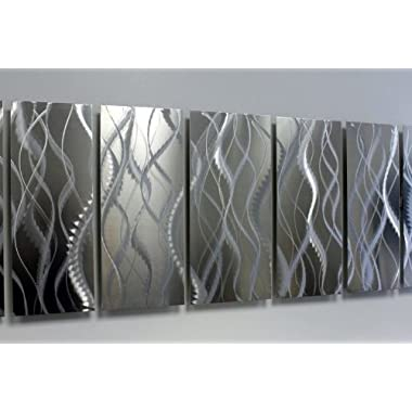 Modern Contemporary All Natural Silver Metal Wall Art - Abstract Home Decor Hand-crafted Metallic Painting Sculpture - Faulty Perfection By Jon Allen - 68  x 24