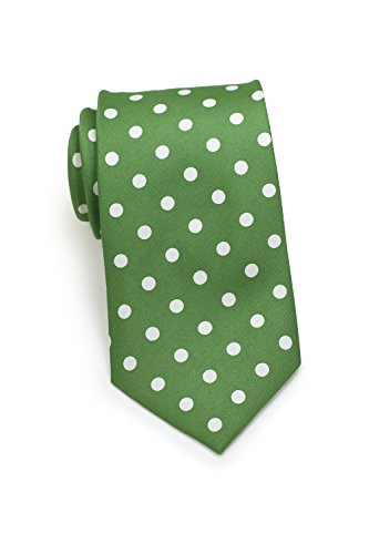 Bows-N-Ties Men's Necktie Bold Polka Dot Microfiber Satin Tie 3.1 Inches (Grass Green and White) (Green And White Polka Dot Bow Tie)