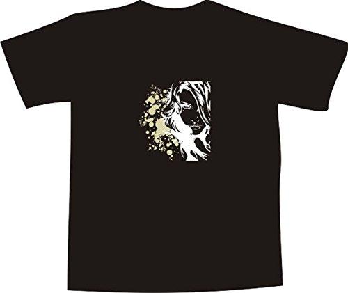 T-Shirt E425 weiß T-Shirt mit farbigem Brustaufdruck XL - Logo / Grafik - minimalistisches Design - Portrait von schöner Frau mit Punkten