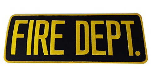 "FIRE Department Patch Badge- Fire Fighters | Fireman Gold/Yellow Black Back Patch 11"" x 4"" (Embroidery Fire Dept)"