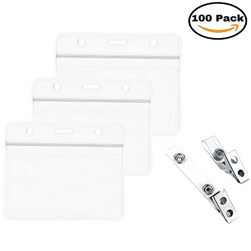 HOSL Waterproof Clear Plastic Horizontal Name Tag Badge Id Card Holders and Metal Badge Holder Clips with PVC Straps (100 Pack)