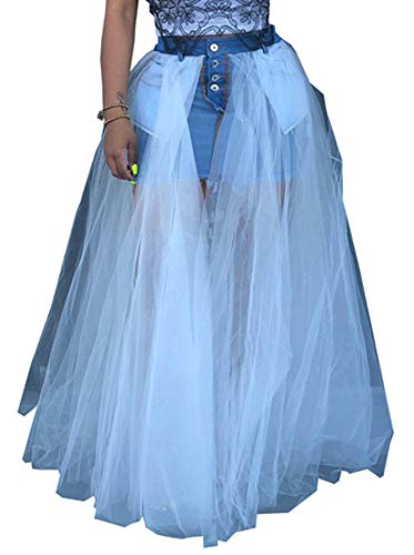 - SAMACHICA Women Denim Skirt Patchwork See Through Sheer Mesh Split Maxi Pleated Skirt White XL