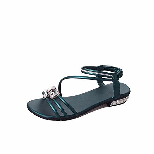 de Fondo de Sandalias Toe Baja Plano green Toe Antideslizante Verano Playa y Cordones de Las Calzado YMFIE señoras de Diamante Y1qUC