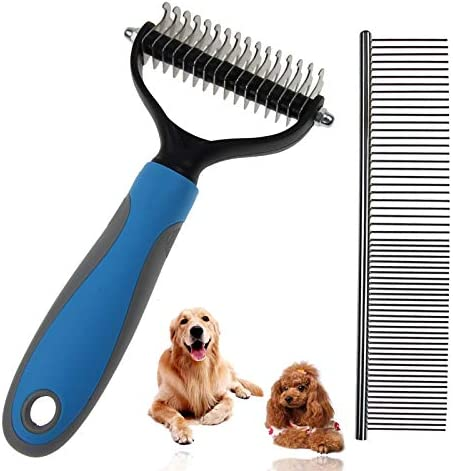 Pet Hair Remover Brush Set Dog Brush for Long Haired Dogs Cat Grooming Brush 2 Sided Undercoat Rake for Large Medium and Small Dogs or Cats Easy for Removing Mats Tangles and Shedding Cat Dog Comb