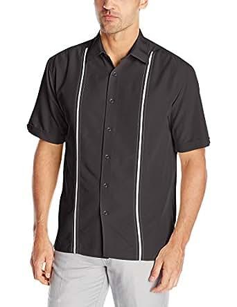 Cubavera Mens Contrast Insert Stitching Short Sleeve Woven Shirt,Black,Small