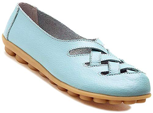 Baby Footwear Blue - Fangsto Women's Cowhide Leather Loafers Flats Sandals Slip-On US Size 9.5 Baby Blue