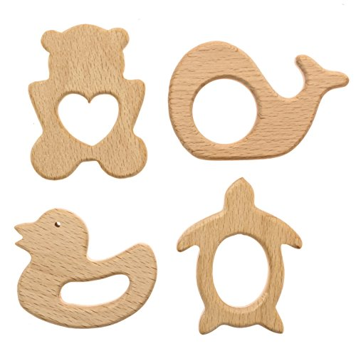 Comfort Care Wooden Baby Teether Animals 4 Piece Set (Bear, Whale, Turtle, Duck) Wooden Teether Ring Teether for babies Wooden Teether DIY Cute Teething (Infant Turtle Teether)