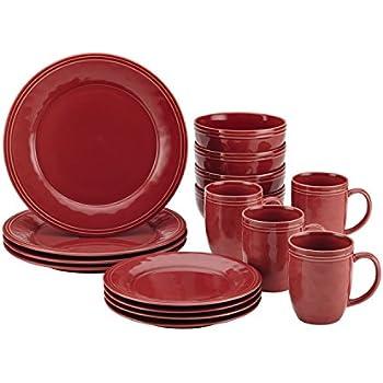 Amazon.com: Gibson Home 12 Piece Plaza Cafe Dinnerware Set, Red ...