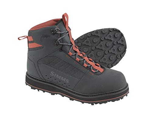 Simms Tributary Rubber Sole Wading Boots for Adults -Rubber Bottom Fishing Boots - Durable Rubber Toe Cap - Neoprene Lining, Carbon, 12