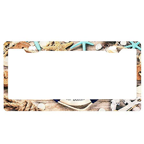 (ABLnewitemFrameFF Nautical Summer Holiday Frame with Seashells and Lifebuoy License Plate Novelty Auto Car Tag Aluminum License Plate Cover .(12x6))