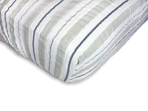 SwaddleDesigns Cotton Muslin Crib Sheet, 3 Color Stripe with Shimmer, - Newborn Crib Stripes