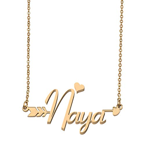 Mezuzah Polished Pendant (Aoloshow Customized Custom Name Necklace Personalized - Custom Naya Initial Name Arrow Horizontal Monogrammed Necklace Gift for Womens Girls)