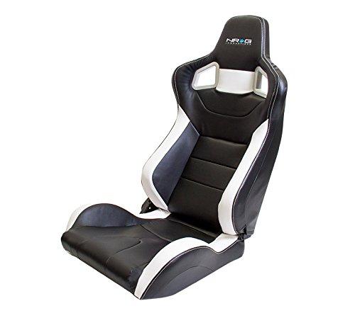 Pvc White Seat (NRG Innovations RSC-700L/R Black NRG PVC Sport Seat with White Stitch/Logo)