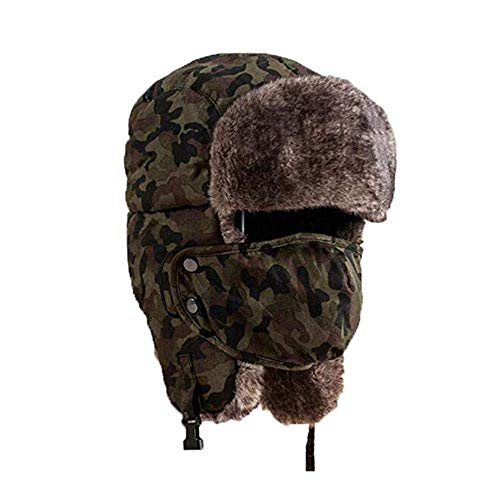 Holyhigh Unisex Winter Outdoor Trapper Trooper Aviator Ski Hat Earflap With Mask (Green Camouflage)