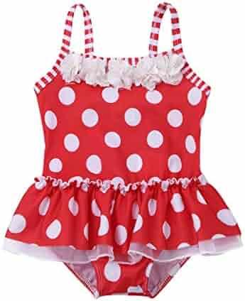 61b5bf39000 iEFiEL Infant Baby Girls One-Piece Striped Flower Polka Dots Swimsuit  Swimwear Bathing Suit Fancy
