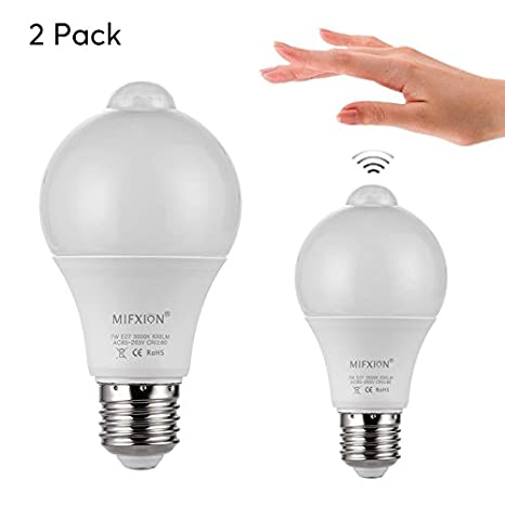 Par de bombillas LED E27 (detección de movimiento, sensor de luz, 2 x