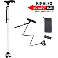 BigAlex Folding Walking Cane with LED Light,Pivoting Quad Base,Adjustable Walking Stick with Carrying Bag for Man/Woman (Short MG Alloy Base(Silver)