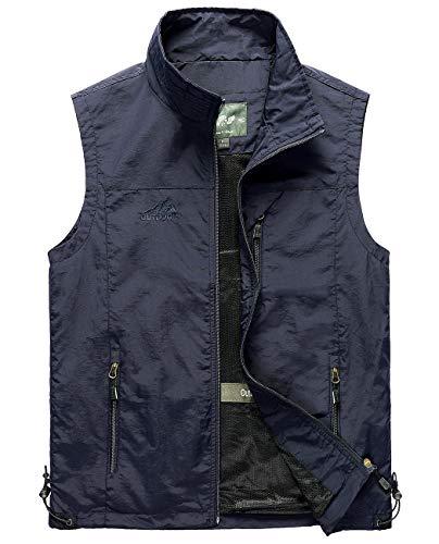 (Hixiaohe Men's Lightweight Outdoor Work Fishing Photo Travel Hiking Vest Gilet (Navy, L))