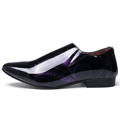 Casual Cricket Fashion a Purple Men's in Color Scarpe Business da Oxford a Moda off Punta Verniciata The Scarpe Show Pelle di Punta EARqfRw