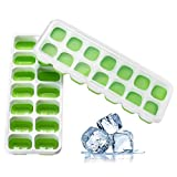 Ice Cube Mold,Lovewe 2Pcs Covered Ice Cube Tray Set With 14 Ice Cubes Molds Flexible Stackable