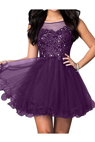 Ballkleider Abendkleider Sweetheart Spitze Festkleid Brautjungfernkleid Ivydressing Mini Damen Violett 4t1xwW0P