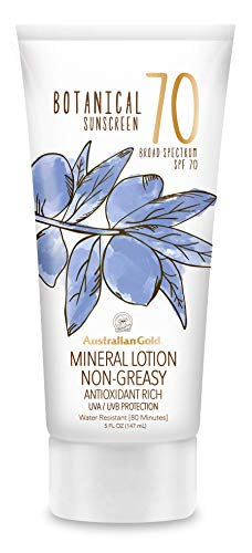 (Australian Gold Botanical Sunscreen Mineral Lotion, Broad Spectrum, Water Resistant, SPF 70, 6 Ounce )