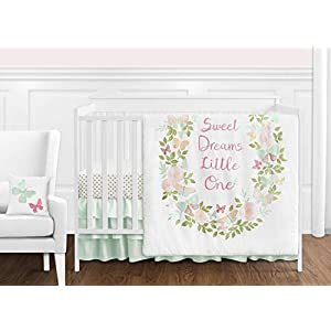 Sweet Jojo Designs Blush Pink, Mint and White Shabby Chic Butterfly Floral Baby Girl Crib Bedding Set Without Bumper – 11 Pieces – Watercolor Rose